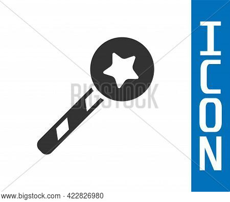 Grey Magic Wand Icon Isolated On White Background. Star Shape Magic Accessory. Magical Power. Vector