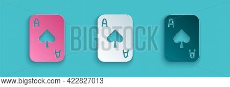 Paper Cut Playing Cards Icon Isolated On Blue Background. Casino Gambling. Paper Art Style. Vector