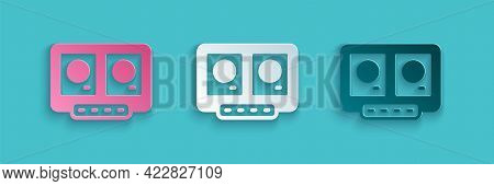 Paper Cut Dj Remote For Playing And Mixing Music Icon Isolated On Blue Background. Dj Mixer Complete