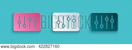 Paper Cut Sound Mixer Controller Icon Isolated On Blue Background. Dj Equipment Slider Buttons. Mixi