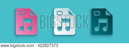 Paper Cut Mp3 File Document. Download Mp3 Button Icon Isolated On Blue Background. Mp3 Music Format