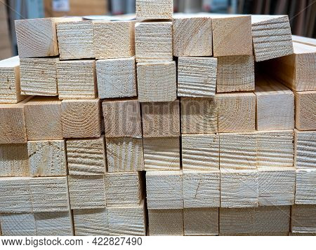 Close-up Of 50 Mm Thick Wooden Beam Lumber. Front View. Wooden Background.