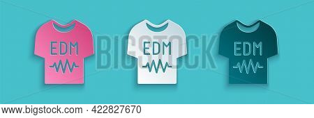 Paper Cut T-shirt Icon Isolated On Blue Background. Paper Art Style. Vector