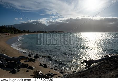 Summer Vacation, Holiday Background Of A Tropical Beach And Blue Sea. Hawaii Beach.