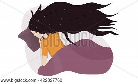 The Girl Sleeps In Her Bed. Vector Illustration