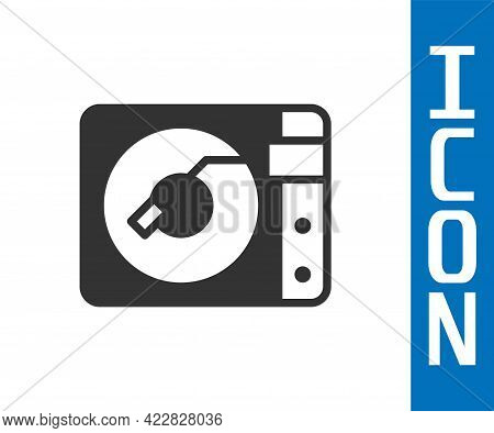Grey Vinyl Player With A Vinyl Disk Icon Isolated On White Background. Vector