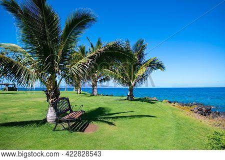 Tropical Beach Scene. Sea View From Summer Beach With Sky. Coastal Landscape.