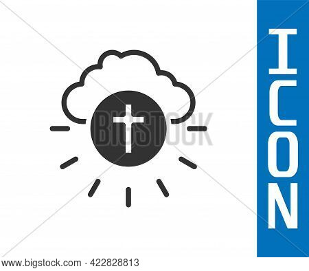 Grey Religious Cross In The Circle Icon Isolated On White Background. Love Of God, Catholic And Chri