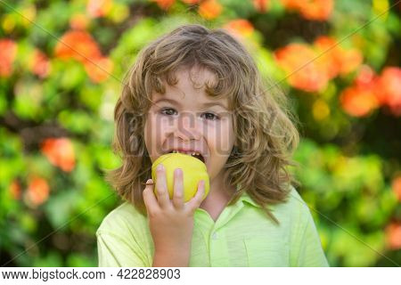 Little Cute Child Eating Green Apple. Portrait Of Kid Eating And Biting An Apple. Enjoy Eating Momen