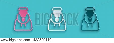 Paper Cut Monk Icon Isolated On Blue Background. Paper Art Style. Vector