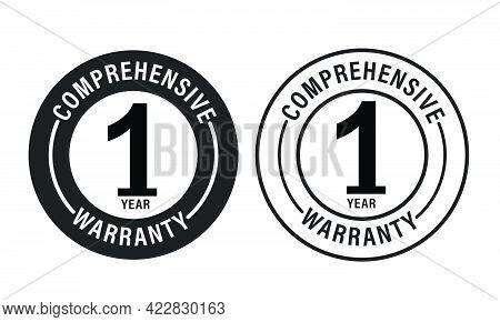Power Train Warranty Abstract. 1 Year Comprehensive Warranty  Vector Icon Set Color In Black