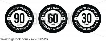 90 Days, 60 Days And 30 Days Extended Warranty Icons. Extended Warranty Abstract,