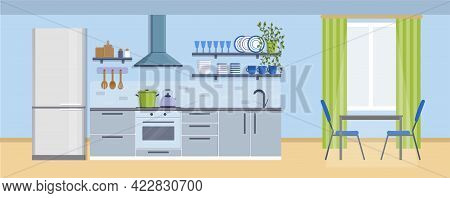Cozy Kitchen Interior With Table, Window, Stove, Cupboard, Dishes And Fridge. Furniture Design Banne