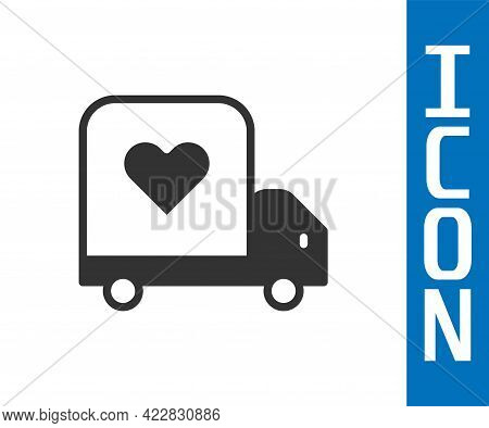 Grey Delivery Truck With Heart Icon Isolated On White Background. Love Delivery Truck. Love Truck Va