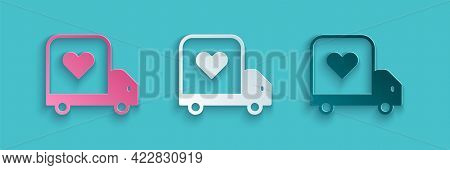 Paper Cut Delivery Truck With Heart Icon Isolated On Blue Background. Love Delivery Truck. Love Truc
