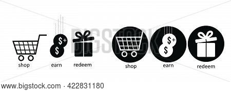 Ecommerce Vector Icon Set , Shop Earn And Redeem Vector Icons