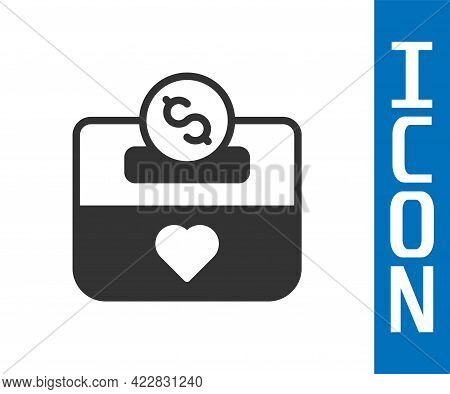 Grey Donation And Charity Icon Isolated On White Background. Donate Money And Charity Concept. Vecto