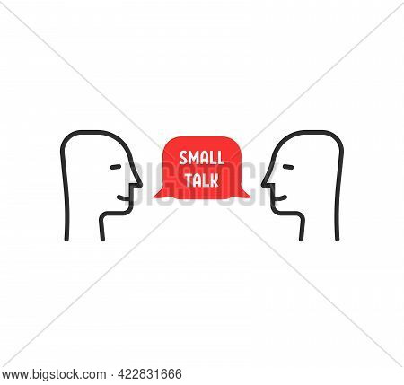 Easy Small Talk Between Two Persons. Concept Of Socialising In Society Or Casual Chatter. Flat Simpl