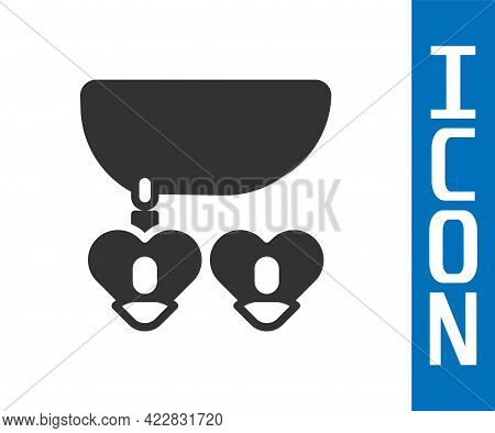 Grey Necklace With Heart Shaped Pendant Icon Isolated On White Background. Jewellery Decoration. Int