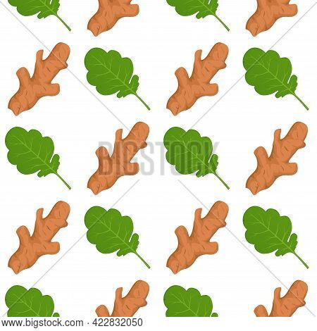 Ginger Roots And Ginger Leaves Vector Seamless Pattern Background.