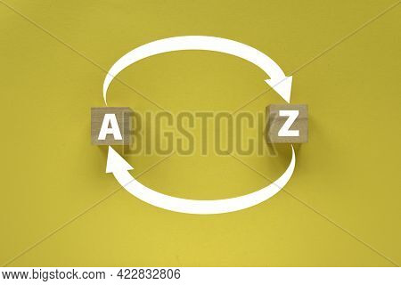 Arrow Of An Alphabet A To Z And Z To A On Yellow Background.
