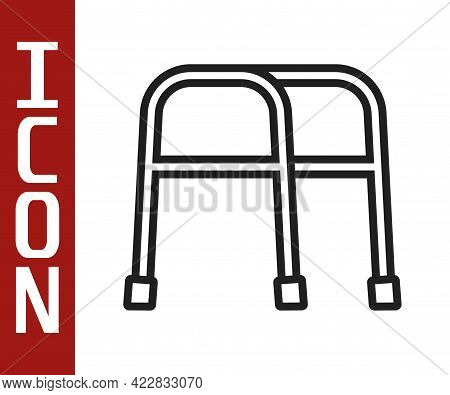 Black Line Walker For Disabled Person Icon Isolated On White Background. Vector