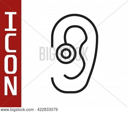 Black Line Hearing Aid Icon Isolated On White Background. Hearing And Ear. Vector