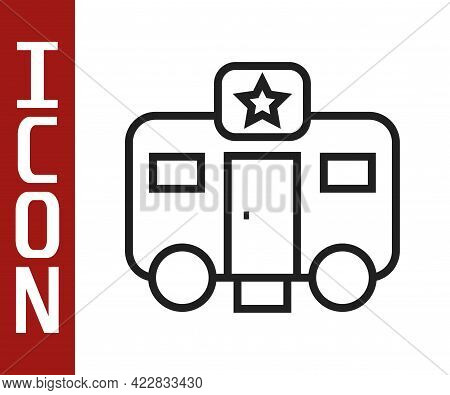 Black Line Machine Trailer Dressing Room For Actors Icon Isolated On White Background. Movie Crew Re