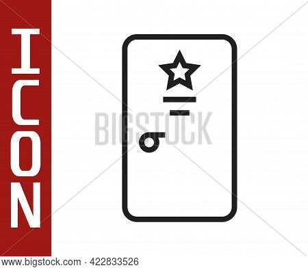 Black Line Backstage Icon Isolated On White Background. Door With A Star Sign. Dressing Up For Celeb