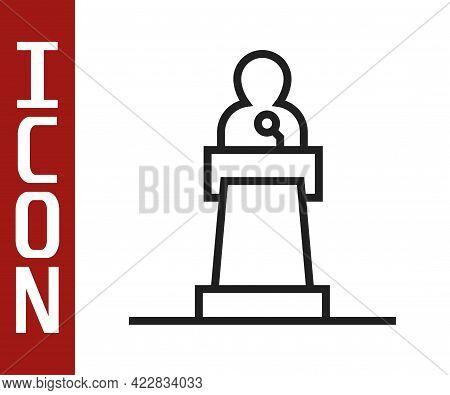 Black Line Speaker Icon Isolated On White Background. Orator Speaking From Tribune. Public Speech. P