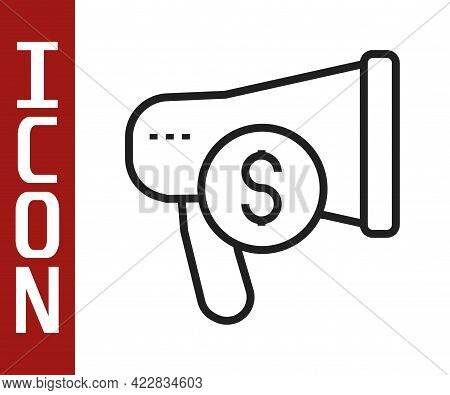 Black Line Megaphone And Dollar Icon Isolated On White Background. Loud Speech Alert Concept. Bullho