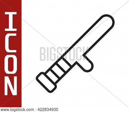 Black Line Police Rubber Baton Icon Isolated On White Background. Rubber Truncheon. Police Bat. Poli