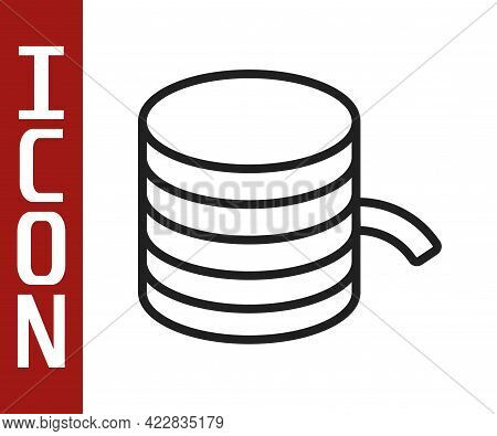 Black Line Plastic Filament For 3d Printing Icon Isolated On White Background. Vector