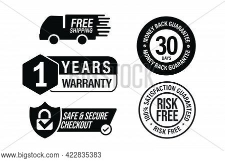 E Commerce Vector Icon Set Including, Free Shipping, 1 Year Warranty, Safe And Secure Checkout, Risk
