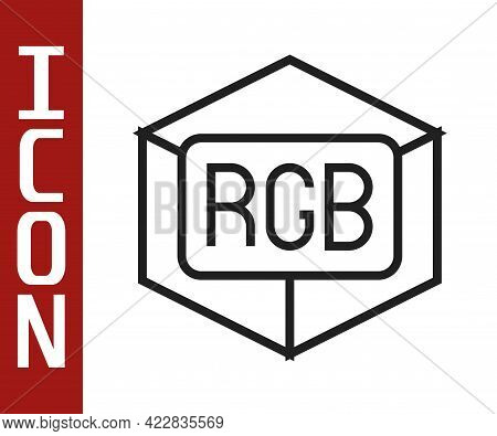 Black Line Rgb And Cmyk Color Mixing Icon Isolated On White Background. Vector