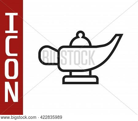 Black Line Magic Lamp Or Aladdin Lamp Icon Isolated On White Background. Spiritual Lamp For Wish. Ve