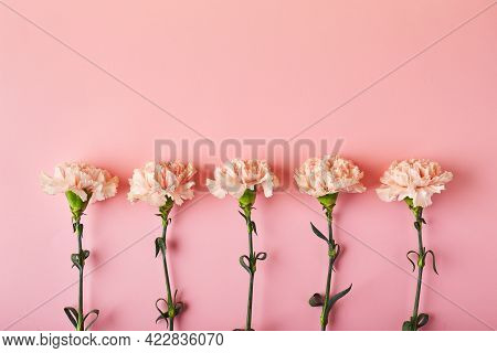 Bouquet Of Pink Carnations. Design Concept Of Holiday Greeting With Carnation Bouquet On Pink Table