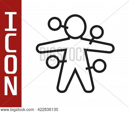 Black Line Voodoo Doll Icon Isolated On White Background. Vector