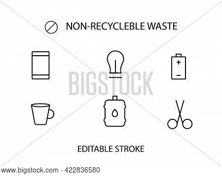 Non Recyclable Garbage Collection Outline Icon. Trash Sorting. Customizable Linear Contour Symbol. E