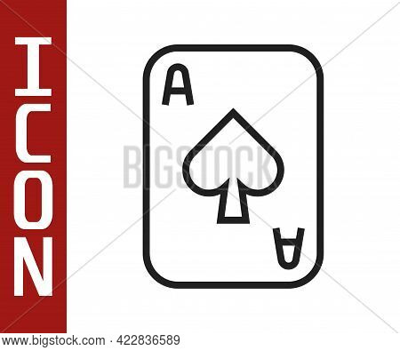 Black Line Playing Cards Icon Isolated On White Background. Casino Gambling. Vector