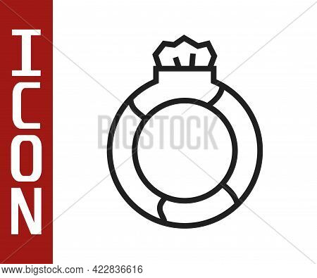 Black Line Fantasy Magic Stone Ring With Gem Icon Isolated On White Background. Vector