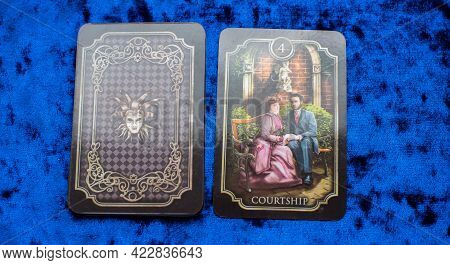 Oracle Lenormand Cards On The Table, Esoteric Concept, Fortune Telling And Predictions. Europe, Roma