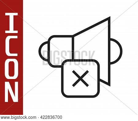 Black Line Speaker Mute Icon Isolated On White Background. No Sound Icon. Volume Off Symbol. Vector