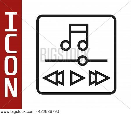 Black Line Music Player Icon Isolated On White Background. Portable Music Device. Vector