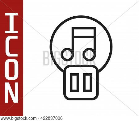 Black Line Pause Button Icon Isolated On White Background. Vector