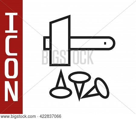 Black Line Crucifixion Of Jesus Christ Icon Isolated On White Background. Hammer And Old Nails. Good