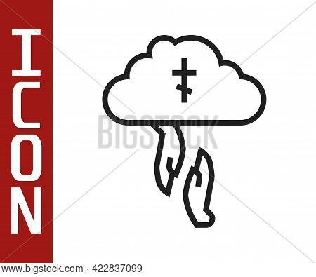 Black Line Gods Helping Hand Icon Isolated On White Background. Religion, Bible, Christianity Concep