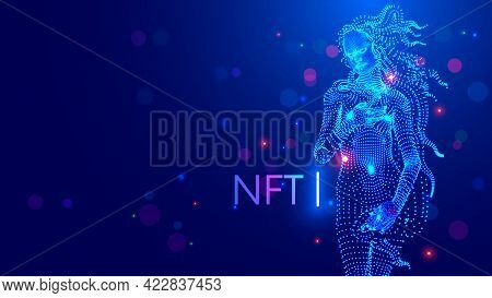 Nft Token In Artwork. Blockchain Technology In Digital Crypto-art. Investment In Cryptographic. Crea
