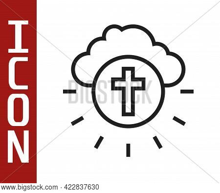 Black Line Religious Cross In The Circle Icon Isolated On White Background. Love Of God, Catholic An
