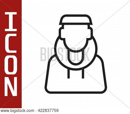 Black Line Monk Icon Isolated On White Background. Vector